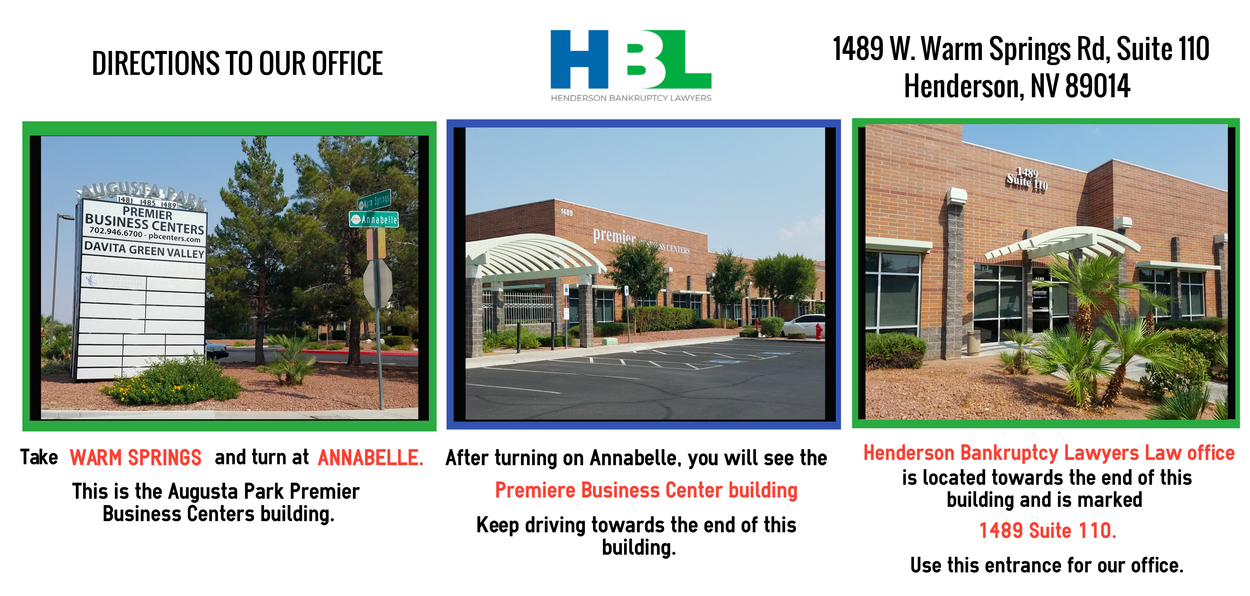 infographic: directions to the Henderson Bankruptcy Lawyers office